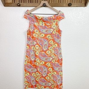 Lauren Ralph Lauren Off Shoulder Paisley Dress
